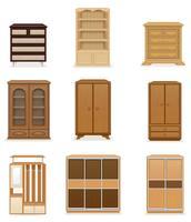 set d'icônes armoire de garde-robe de meubles et illustration vectorielle commode