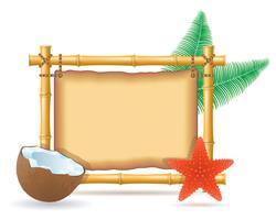 cadre de bambou et illustration vectorielle de noix de coco