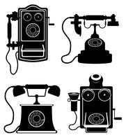 téléphone vieux rétro icône vintage vector stock illustration contour noir silhouette