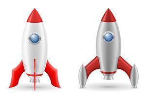 illustration vectorielle de fusée spatiale rétro vaisseau spatial