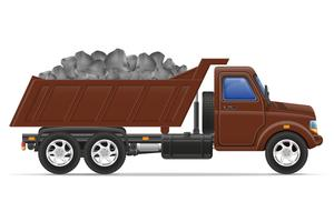 livraison de camion de fret et transport d'illustration vectorielle de matériaux de construction concept vecteur