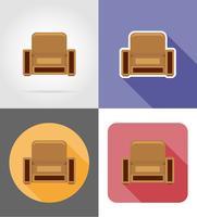 fauteuil mobilier set plats icônes illustration vectorielle vecteur