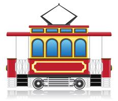 ancienne illustration vectorielle de tram rétro