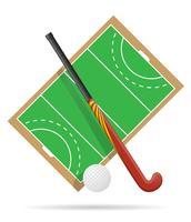 Terrain de jeu au hockey sur illustration vectorielle herbe