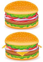 illustration vectorielle hamburger et cheeseburger