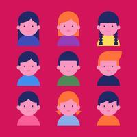 Ensemble de personnages d'avatars pour enfants heureux vecteur