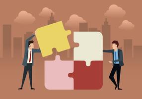 Équipe affaires avec puzzle vecteur