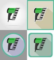 outils de cloueuse électrique pour la construction et la réparation d'icônes plats vector illustration