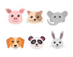 Vecteur animal faces