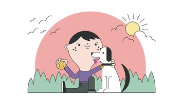 Vecteur enfant et animal