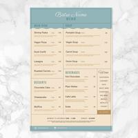 Modèle de menu Bistro de vecteur