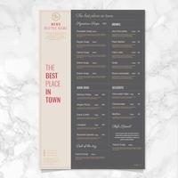 Conception de menus de bistrot de vecteur
