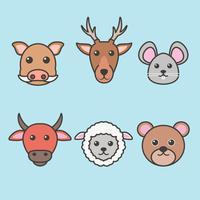 Vecteur de têtes d'animaux