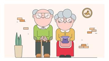 Vecteur de grand-mère et grand-père