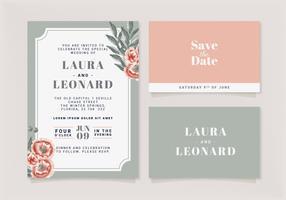 Modèle d'invitation de mariage floral Vector