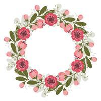 Couronne florale rose de vecteur