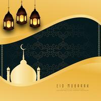Abstrait religieux Eid Mubarak design élégant fond vecteur