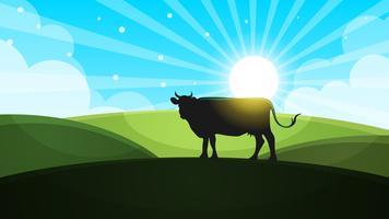 Vache dans le pré - illustration de paysage de bande dessinée. Vecteur, eps
