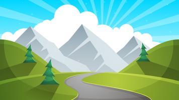 Paysages de dessin animé de jour de voyage. Montagne, sapin, illustation de route.