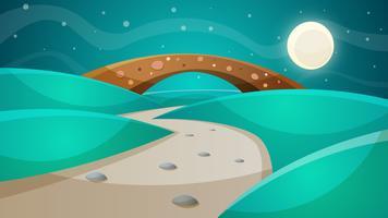 Pont de nuit - illustration de dessin animé. vecteur