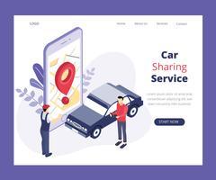 Concept d'art isométrique de service de partage de voiture