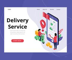Concept d'art isométrique du service de livraison en ligne