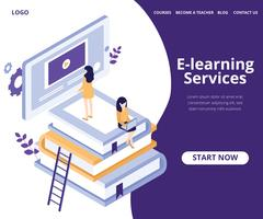 Isometric Artwork Concept of E Learning des étudiants