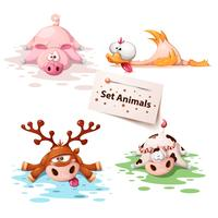 Set animaux dormants - cochon, canard, cerf, vache