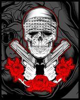 mafia crâne, gengster portant un bandana avec une arme à feu et des roses
