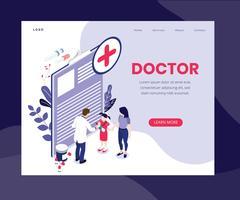 Concept d'art isométrique de médecin en ligne