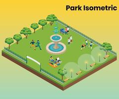 Concept d'art isométrique de parc pour le divertissement vecteur