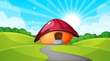 paysage de dessin animé avec la maison aux champignons. Soleil, nuage, route - illustration. vecteur