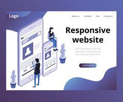 concept d'illustration isométrique du site responsive