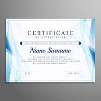 Modèle de certificat abstrait ondulé bleu