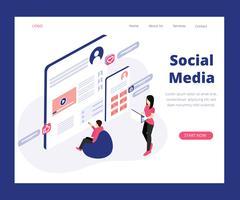 Concept d'art isométrique du marketing des médias sociaux