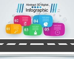 Modèle de conception infographique route et icônes marketing.