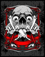 crâne tattoo.vector dessin à la main