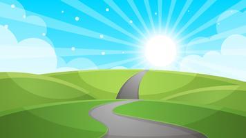 Paysage de bande dessinée - illustration de la route. vecteur