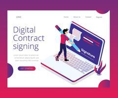 Concept d'art isométrique de signature de contrat numérique vecteur