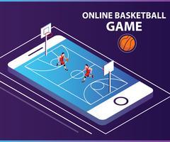 Concept de dessin isométrique de jeu de ballon de basket en ligne vecteur