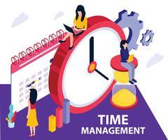 Concept de dessin isométrique de gestion du temps vecteur
