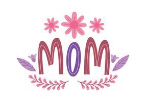 Typographie fleur maman vecteur
