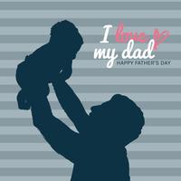 Papa Et Bébé Ombre Pour La Fête Des Pères vecteur