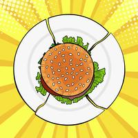 Burger sur une assiette cassée, fast food lourd. Régime alimentaire et une alimentation saine. Illustration vectorielle coloré dans un style bande dessinée rétro pop art