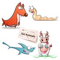 Chien, ver, requin, animaux sur fond de vache.