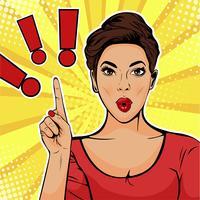 Point d'exclamation et femme surprise. Illustration vectorielle coloré dans un style bande dessinée rétro pop art