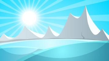 Paysage de neige de dessin animé. Soleil, neige, illustration de montagne