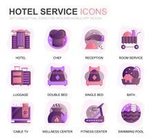 Modern Set Hotel Services Gradient Flat Icons pour site Web et applications mobiles. Contient des icônes telles que bagages, réception, services de chambre, centre de remise en forme. Icône plate couleur conceptuelle. Pack de pictogrammes de vecteur.