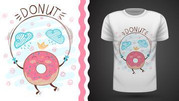 Jump beignet - idée d'un t-shirt imprimé. vecteur
