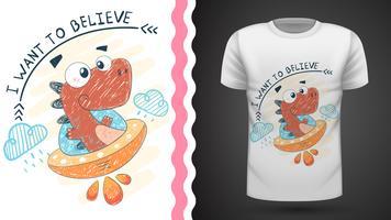 Dino and ufo - idée d'un t-shirt imprimé vecteur